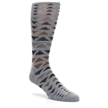 Image of Gray Multicolor Triangles Wool Men's Casual Socks (side-1-27)