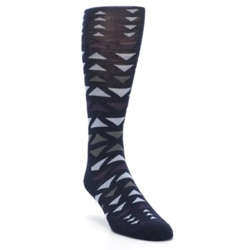 Image of Navy Multicolor Triangles Wool Men's Casual Socks (side-1-front-02)
