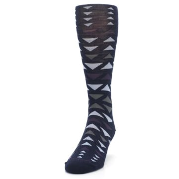 Image of Navy Multicolor Triangles Wool Men's Casual Socks (side-2-front-06)