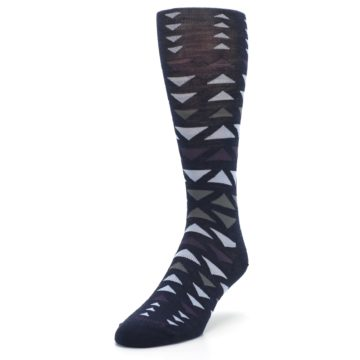 Image of Navy Multicolor Triangles Wool Men's Casual Socks (side-2-front-07)