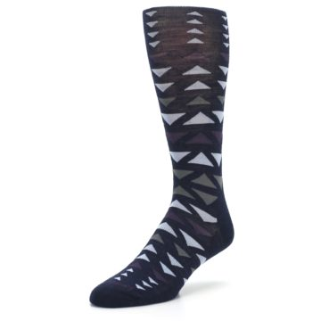 Image of Navy Multicolor Triangles Wool Men's Casual Socks (side-2-front-08)