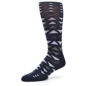 Image of Navy Multicolor Triangles Wool Men's Casual Socks (side-2-09)