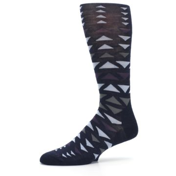 Image of Navy Multicolor Triangles Wool Men's Casual Socks (side-2-10)