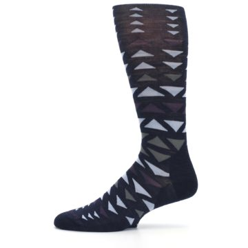Image of Navy Multicolor Triangles Wool Men's Casual Socks (side-2-11)