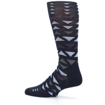 Image of Navy Multicolor Triangles Wool Men's Casual Socks (side-2-13)