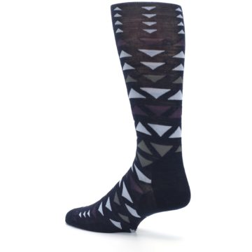 Image of Navy Multicolor Triangles Wool Men's Casual Socks (side-2-back-14)