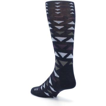 Image of Navy Multicolor Triangles Wool Men's Casual Socks (side-2-back-15)