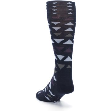 Image of Navy Multicolor Triangles Wool Men's Casual Socks (side-2-back-16)