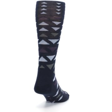 Image of Navy Multicolor Triangles Wool Men's Casual Socks (side-1-back-20)