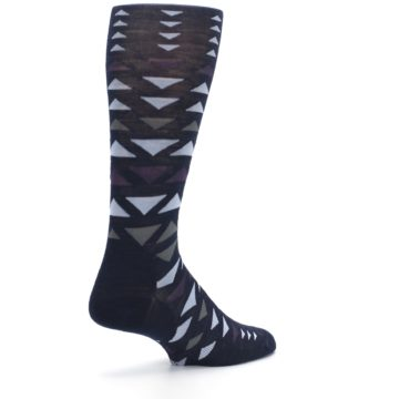 Image of Navy Multicolor Triangles Wool Men's Casual Socks (side-1-back-22)