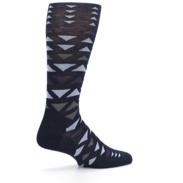 Image of Navy Multicolor Triangles Wool Men's Casual Socks (side-1-23)