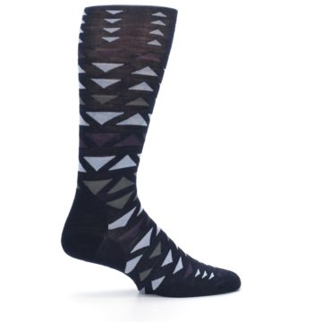 Image of Navy Multicolor Triangles Wool Men's Casual Socks (side-1-24)