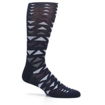 Image of Navy Multicolor Triangles Wool Men's Casual Socks (side-1-25)