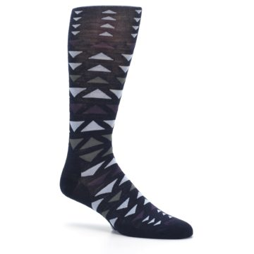 Image of Navy Multicolor Triangles Wool Men's Casual Socks (side-1-26)