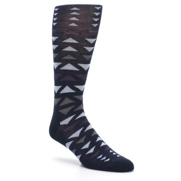 Image of Navy Multicolor Triangles Wool Men's Casual Socks (side-1-27)