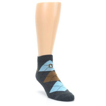 Image of Blue Brown Argyle Clean Water Men's Ankle Socks (side-1-front-02)