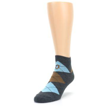 Image of Blue Brown Argyle Clean Water Men's Ankle Socks (side-2-front-07)