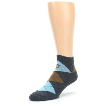 Image of Blue Brown Argyle Clean Water Men's Ankle Socks (side-2-front-08)