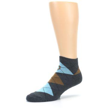 Image of Blue Brown Argyle Clean Water Men's Ankle Socks (side-2-09)
