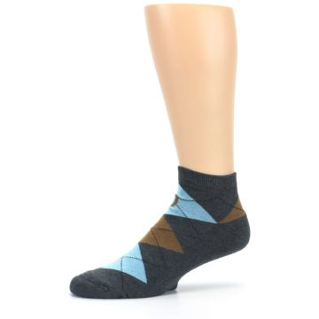Image of Blue Brown Argyle Clean Water Men's Ankle Socks (side-2-10)