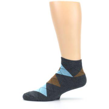 Image of Blue Brown Argyle Clean Water Men's Ankle Socks (side-2-11)