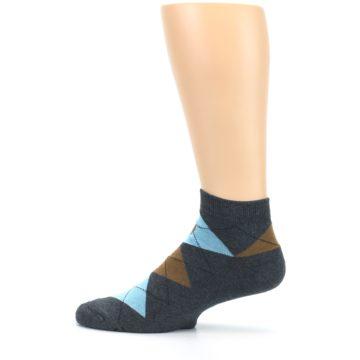 Image of Blue Brown Argyle Clean Water Men's Ankle Socks (side-2-12)