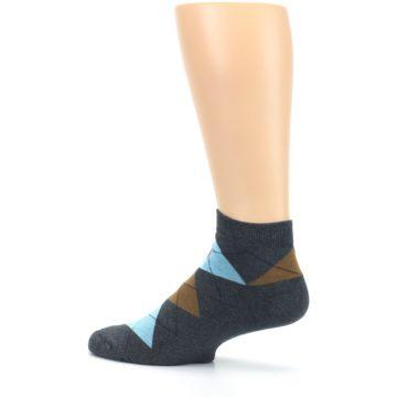 Image of Blue Brown Argyle Clean Water Men's Ankle Socks (side-2-13)