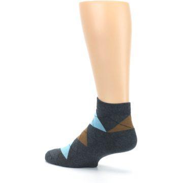 Image of Blue Brown Argyle Clean Water Men's Ankle Socks (side-2-back-14)