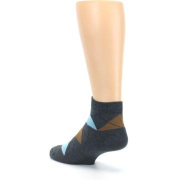 Image of Blue Brown Argyle Clean Water Men's Ankle Socks (side-2-back-15)