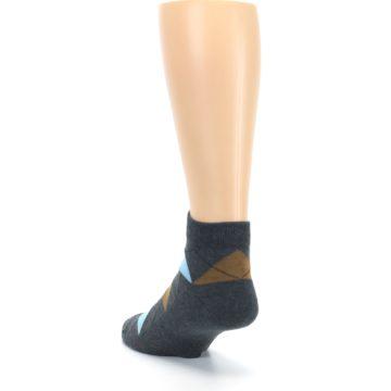 Image of Blue Brown Argyle Clean Water Men's Ankle Socks (side-2-back-16)