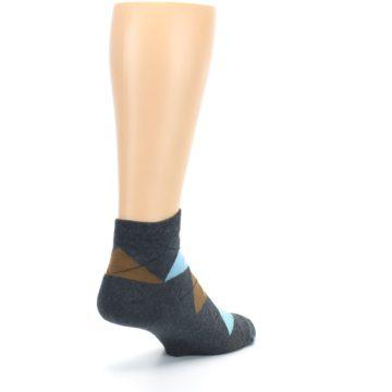 Image of Blue Brown Argyle Clean Water Men's Ankle Socks (side-1-back-21)