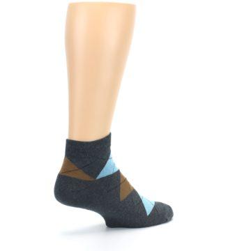 Image of Blue Brown Argyle Clean Water Men's Ankle Socks (side-1-back-22)