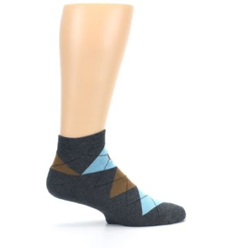 Image of Blue Brown Argyle Clean Water Men's Ankle Socks (side-1-24)