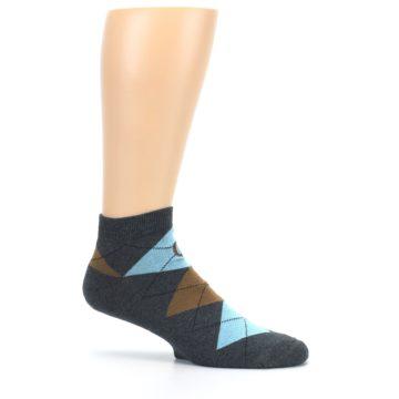 Image of Blue Brown Argyle Clean Water Men's Ankle Socks (side-1-25)