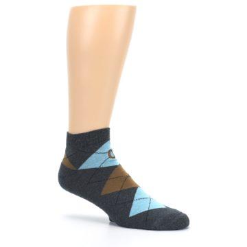 Image of Blue Brown Argyle Clean Water Men's Ankle Socks (side-1-26)