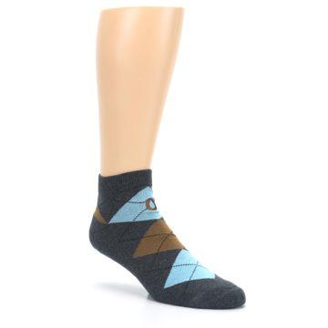 Image of Blue Brown Argyle Clean Water Men's Ankle Socks (side-1-27)