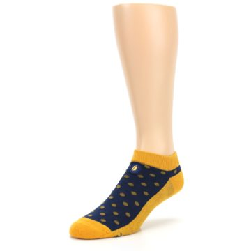 Image of Blue Yellow Polka Dots Books Men's Ankle Socks (side-2-front-08)