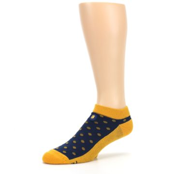 Image of Blue Yellow Polka Dots Books Men's Ankle Socks (side-2-09)