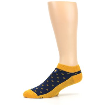 Image of Blue Yellow Polka Dots Books Men's Ankle Socks (side-2-10)