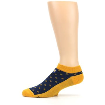Image of Blue Yellow Polka Dots Books Men's Ankle Socks (side-2-11)