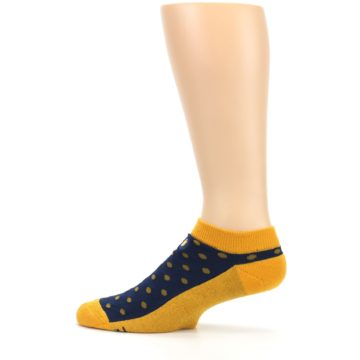 Image of Blue Yellow Polka Dots Books Men's Ankle Socks (side-2-12)