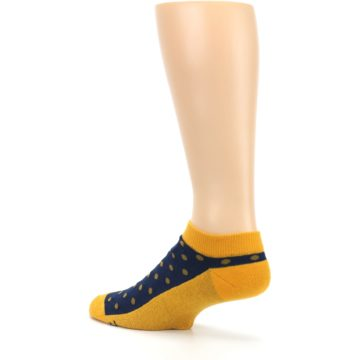 Image of Blue Yellow Polka Dots Books Men's Ankle Socks (side-2-back-14)