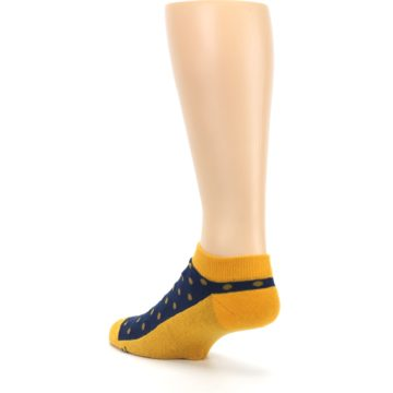 Image of Blue Yellow Polka Dots Books Men's Ankle Socks (side-2-back-15)