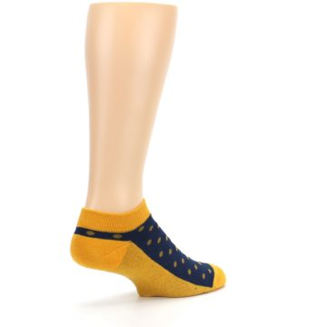 Image of Blue Yellow Polka Dots Books Men's Ankle Socks (side-1-back-22)