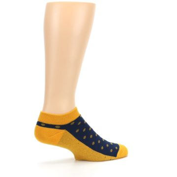 Image of Blue Yellow Polka Dots Books Men's Ankle Socks (side-1-23)