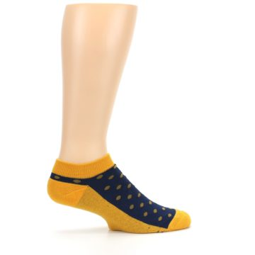 Image of Blue Yellow Polka Dots Books Men's Ankle Socks (side-1-24)