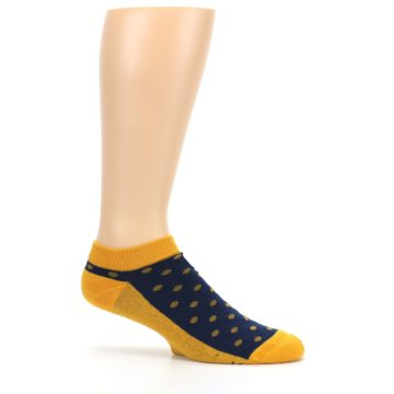 Image of Blue Yellow Polka Dots Books Men's Ankle Socks (side-1-25)