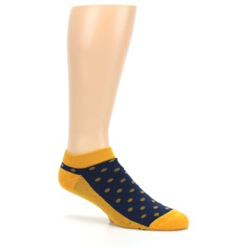 Image of Blue Yellow Polka Dots Books Men's Ankle Socks (side-1-26)