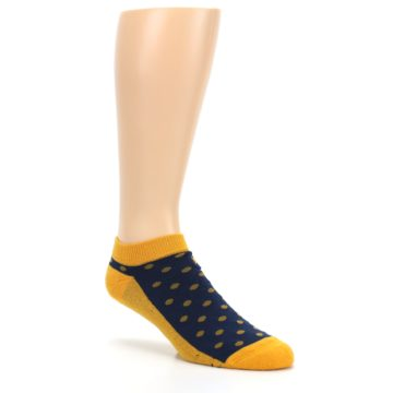 Image of Blue Yellow Polka Dots Books Men's Ankle Socks (side-1-27)