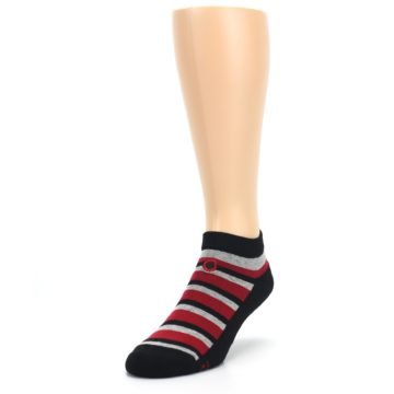 Image of Black Red Gray Stripe Poverty Men's Ankle Socks (side-2-front-07)